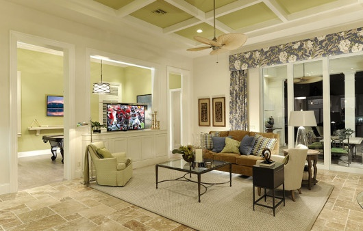 The game room in the Delfina is one of our luxury home options.