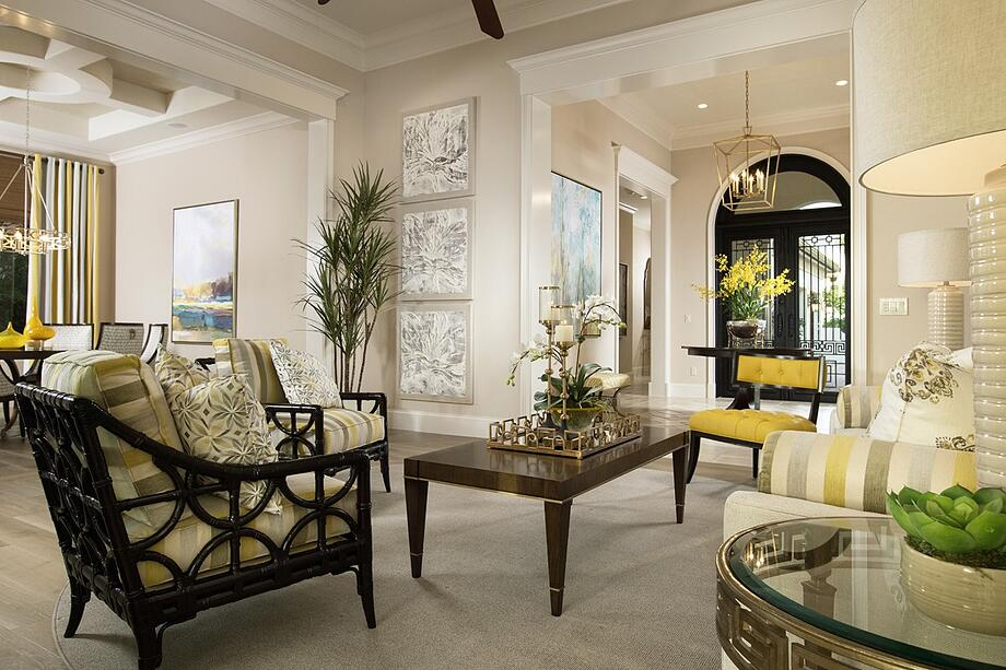 Discover a tech-less living room in the Carina at Portofino at Miromar Lakes