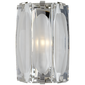 Visual Comfort Casktle Peak Large Bath Sconce In Polished Nickel With Etched Clear Glass
