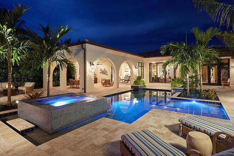 Outdor living spaces are popular custom luxury home design features.