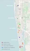 Showcasing recent activity from Park Shore to Port Royal, this map offers an inside look at the variety of available homesites, model homes and private residential homes created by London Bay Homes.