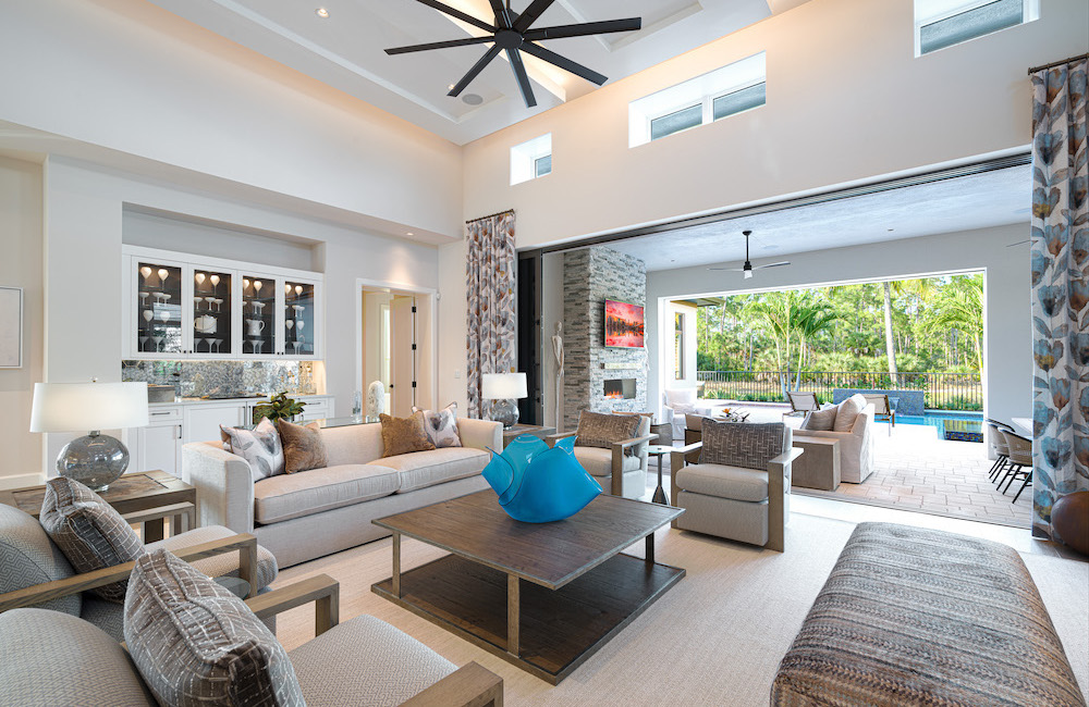 indoor family room with outdoor entertainment space