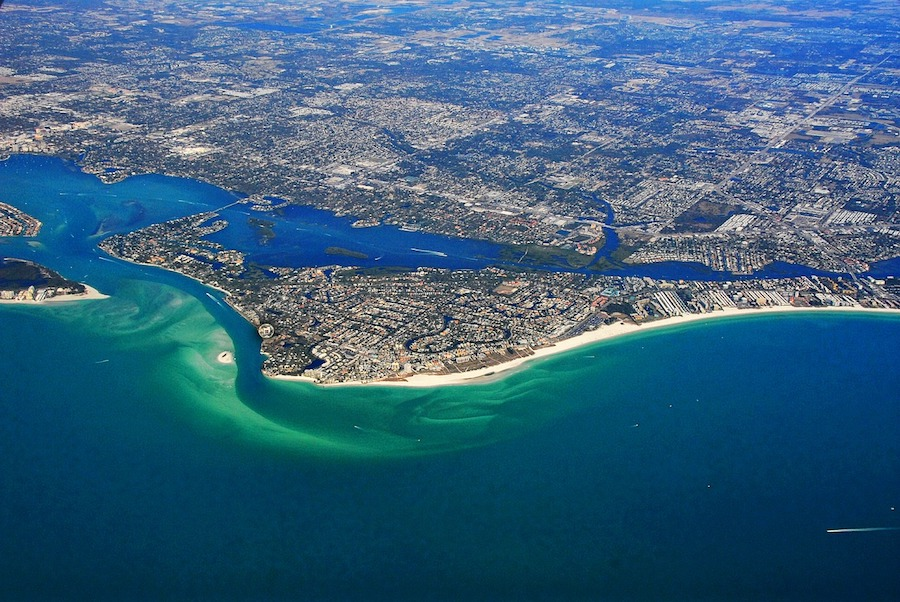 aerial view sarasota bay gulf of mexico siesta key
