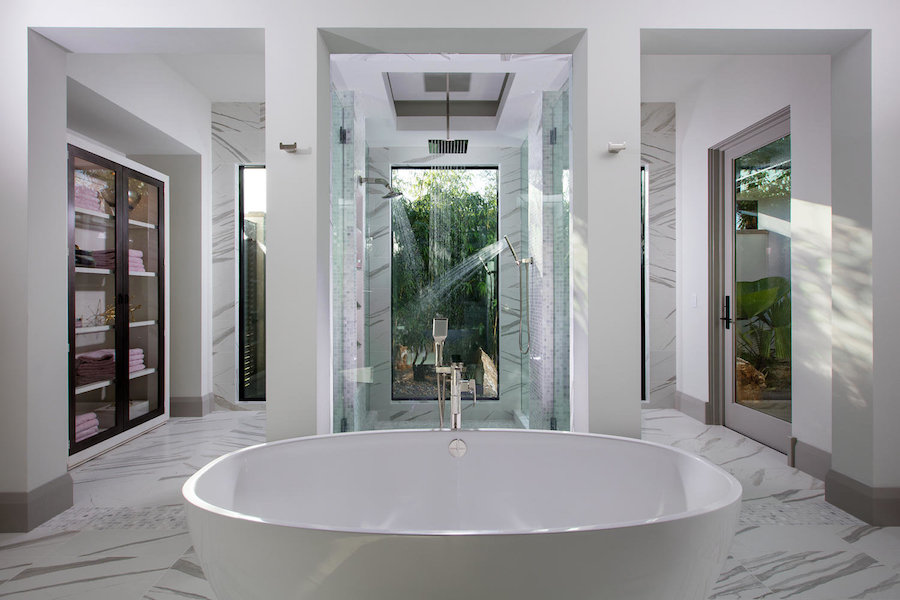 spa like bathroom marble white bathtub showers